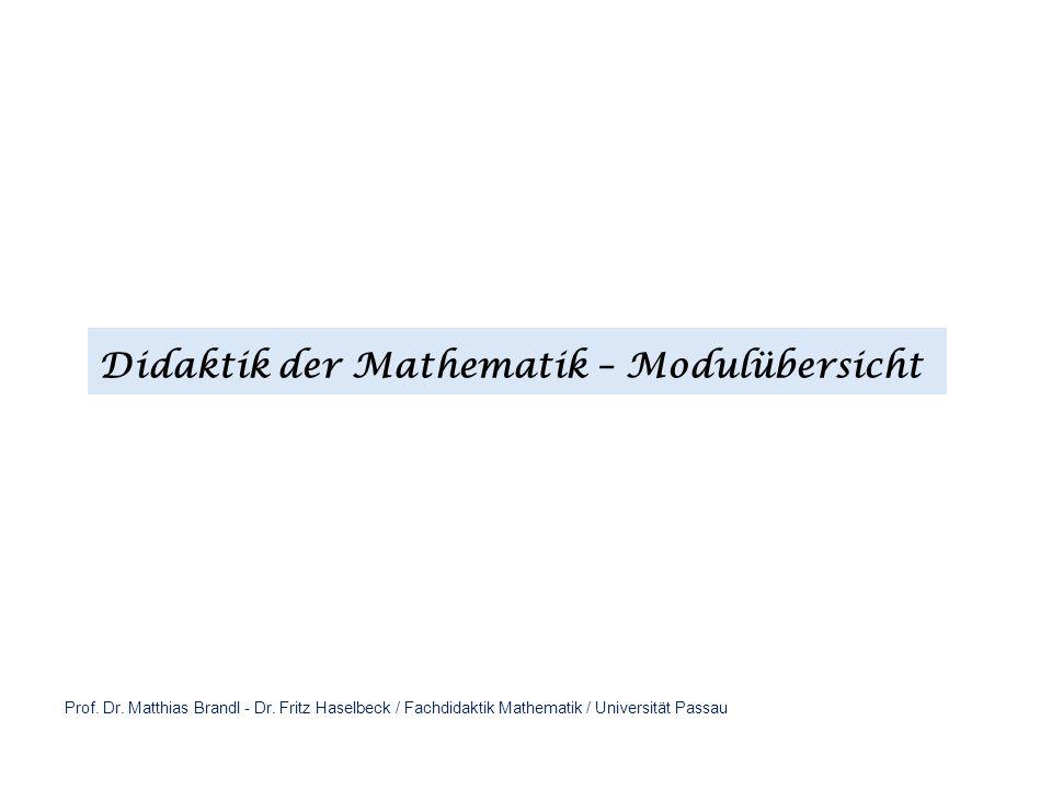 Didaktik der Mathematik – Modulübersicht Prof. Dr. Matthias Brandl - Dr. Fritz Haselbeck / Fachdidaktik Mathematik / Universität Passau