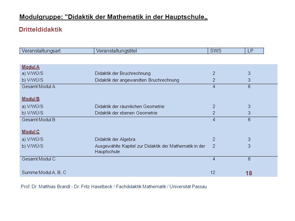 VeranstaltungsartVeranstaltungstitelSWSLP Modul A a) V/WÜ/SDidaktik der Bruchrechnung 2 3 b) V/WÜ/SDidaktik der Algebra 2 3 Gesamt Modul A 4 6 Modul B a) V/WÜ/SDidaktik der räumlichen Geometrie 2 3 b) V/WÜ/SDidaktik der ebenen Geometrie 2 3 Gesamt Modul B 4 6 Summe Modul A, B 8 12 Modulgruppe: Didaktik der Mathematik in der Hauptschule (Unterrichtsfach): Unterrichtsfach: Prüfung im Rahmen des Staatsexamens: Schriftliche Klausur (3 Stunden, zentral gestellt).