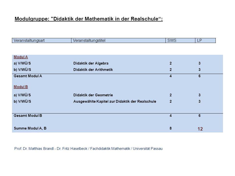 VeranstaltungsartVeranstaltungstitelSWSLP Modul A a) V/WÜ/SDidaktik der Algebra 2 3 b) V/WÜ/SDidaktik der Analysis 2 3 Gesamt Modul A 4 6 Modul B a) V/WÜ/SDidaktik der Geometrie 2 3 b) V/WÜ/SAusgewählte Kapitel zur Didaktik der Mathematik am Gymnasium 2 3 Gesamt Modul B 4 6 Summe Modul A, B 8 12 Modulgruppe: Didaktik der Mathematik am Gymnasium