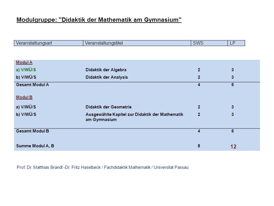 VeranstaltungsartVeranstaltungstitelSWSLP Modul A a) V/WÜ/SDidaktik der Algebra 2 3 b) V/WÜ/SDidaktik der Analysis 2 3 Gesamt Modul A 4 6 Modul B a) V