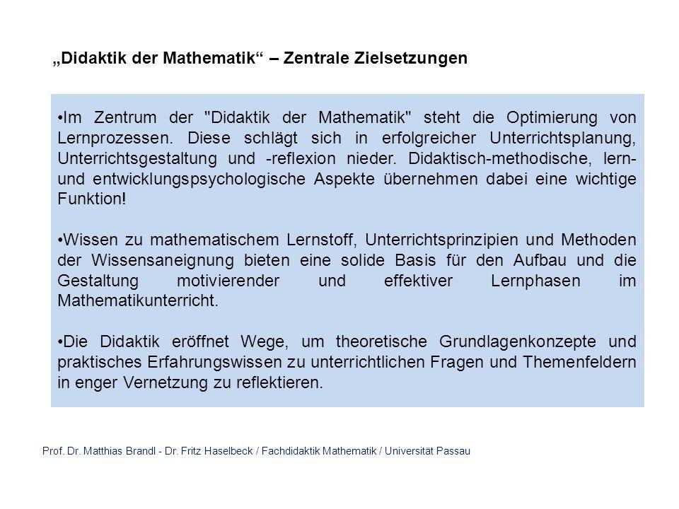 Prof. Dr. Matthias Brandl - Dr. Fritz Haselbeck / Fachdidaktik Mathematik / Universität Passau Didaktik der Mathematik – Zentrale Zielsetzungen Im Zen