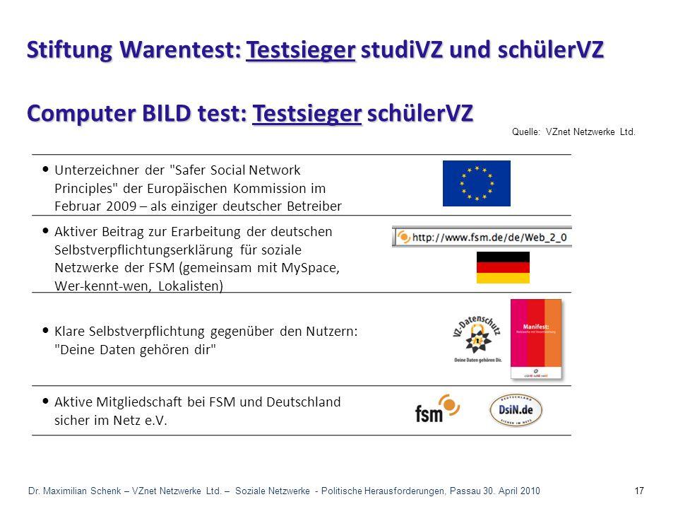 Quelle:VZnet Netzwerke Ltd. Aktive Mitgliedschaft bei FSM und Deutschland sicher im Netz e.V. Unterzeichner der