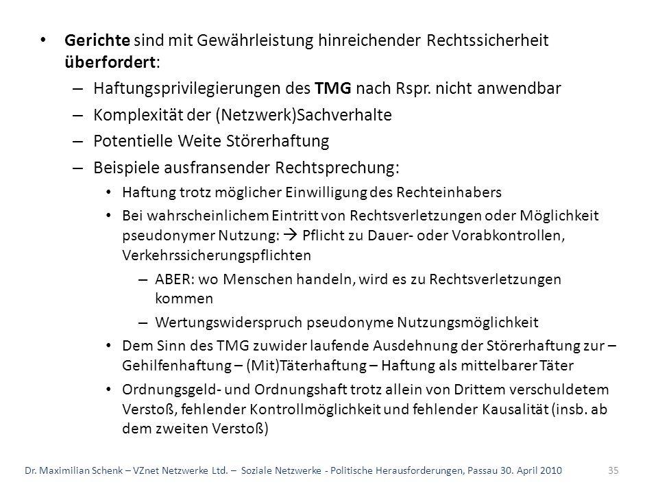 Gerichte sind mit Gewährleistung hinreichender Rechtssicherheit überfordert: – Haftungsprivilegierungen des TMG nach Rspr. nicht anwendbar – Komplexit