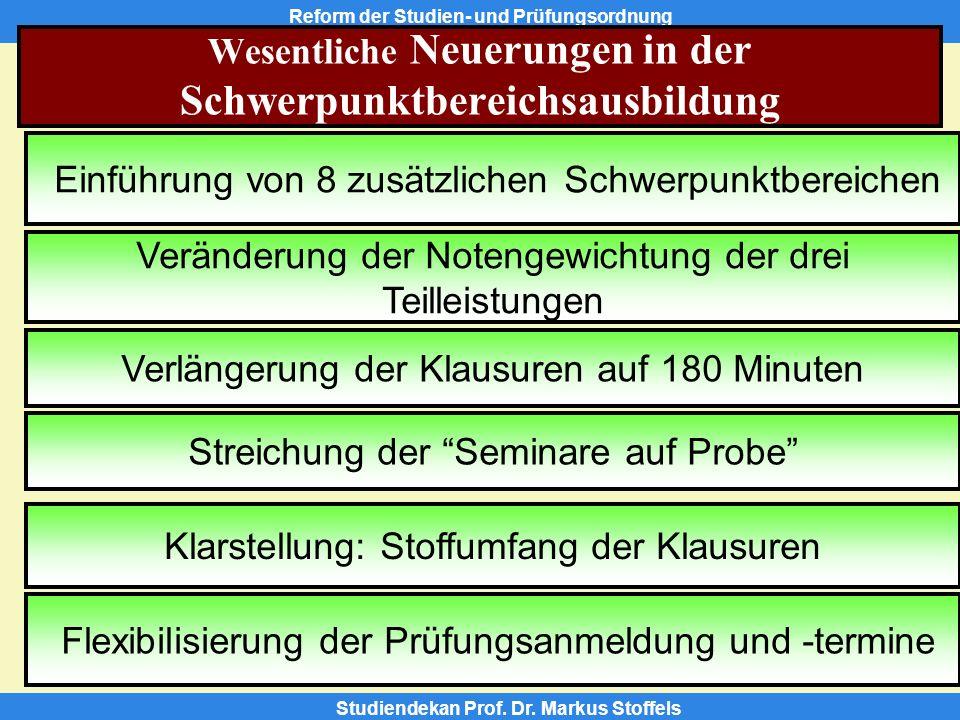 Reform der Studien- und Prüfungsordnung Studiendekan Prof.