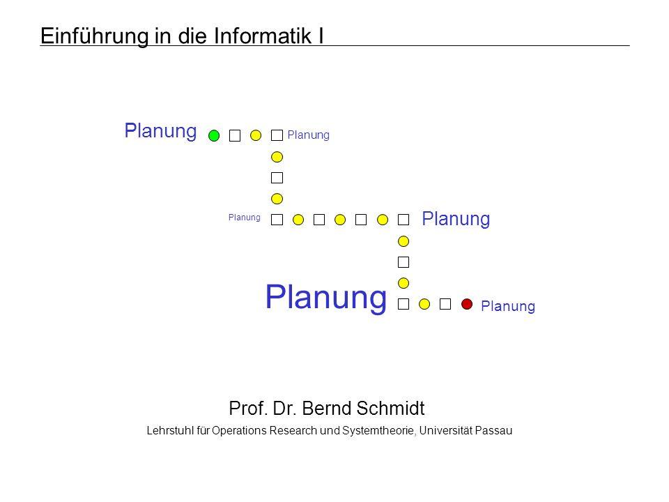 Lehrstuhl für Operations Research und SystemtheoriePlanungFolie 62 Planung Breitensuche: Bedingungsabhängige Aktionen Beispiel: arithmetische Umformung A = 1 B = 2 C = 3 A = 4 B = 3 C = 4 A = 3 B = 1 C = 4 A > 0 A=A+3 B=B+1 C=C+1 B < 3 A=A+2 B=B-1 C=C+1 Aktionsauswahl: A > 0 A=A+3 B=B+1 C=C+1 B < 3 A=A+2 B=B- 1 C=C+1 C > 3 A=A+2 B=B+3 C=C A > 0 A=A+3 B=B+1 C=C+1 A = 6 B = 2 C = 5 A = 7 B = 4 C = 5 A > 0 A=A+3 B=B+1 C=C+1 B < 3 A=A+2 B=B-1 C=C+1 C > 3 A=A+2 B=B+3 C=C A = 5 B = 4 C = 4 A = 5 B = 0 C = 5 A = 9 B = 7 C = 5 C >3 A=A+2 B=B+3 C=C Verbotene Zustände: A = 6 B = 6 C = 4 A = 9 B = 7 C = 5