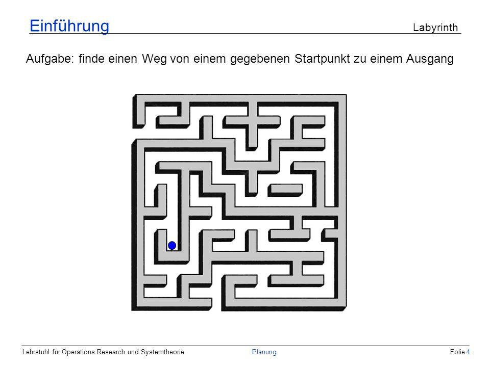 Lehrstuhl für Operations Research und SystemtheoriePlanungFolie 4 Einführung Labyrinth Aufgabe: finde einen Weg von einem gegebenen Startpunkt zu eine