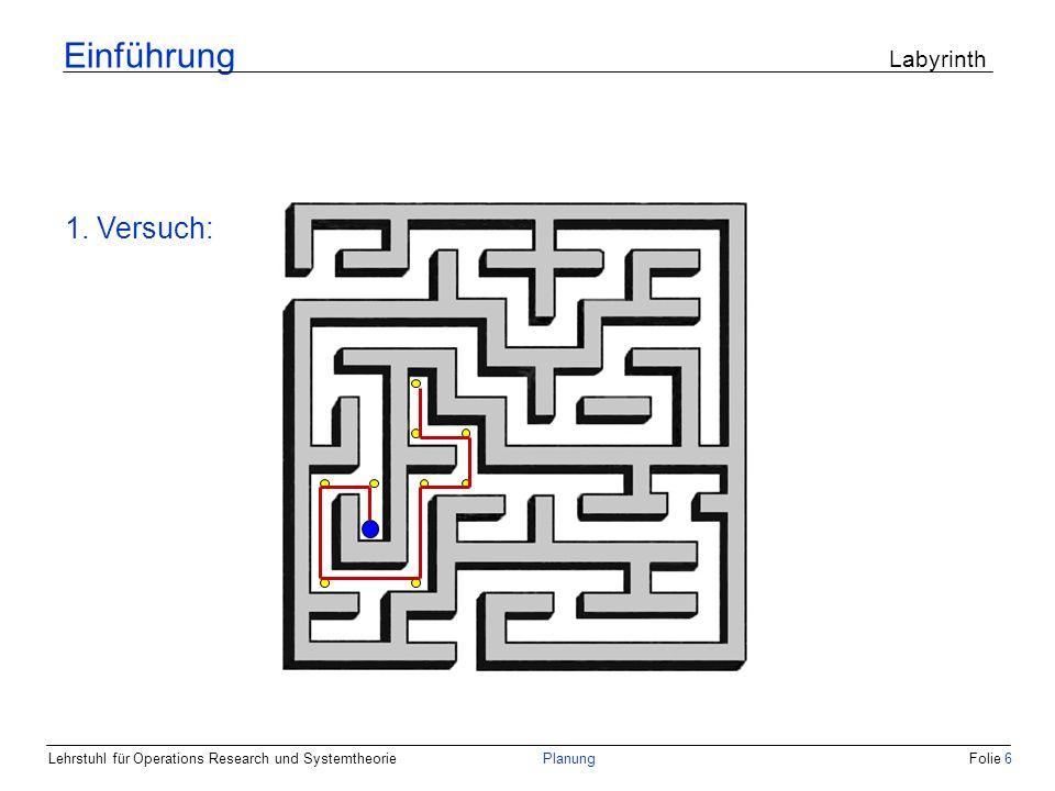 Lehrstuhl für Operations Research und SystemtheoriePlanungFolie 6 Einführung Labyrinth 1. Versuch: