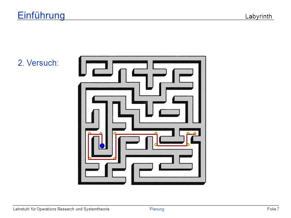 Lehrstuhl für Operations Research und SystemtheoriePlanungFolie 7 Einführung Labyrinth 2. Versuch: