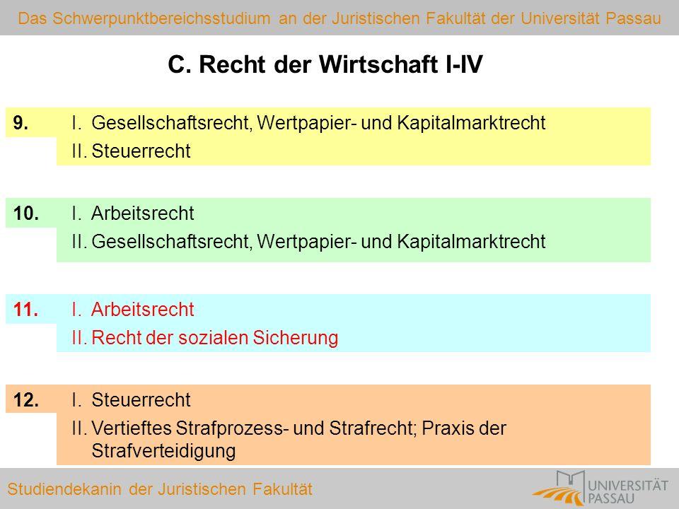 Das Schwerpunktbereichsstudium an der Juristischen Fakultät der Universität Passau Studiendekanin der Juristischen Fakultät Wechselmöglichkeit einmaliger Wechsel des SPB ist möglich.