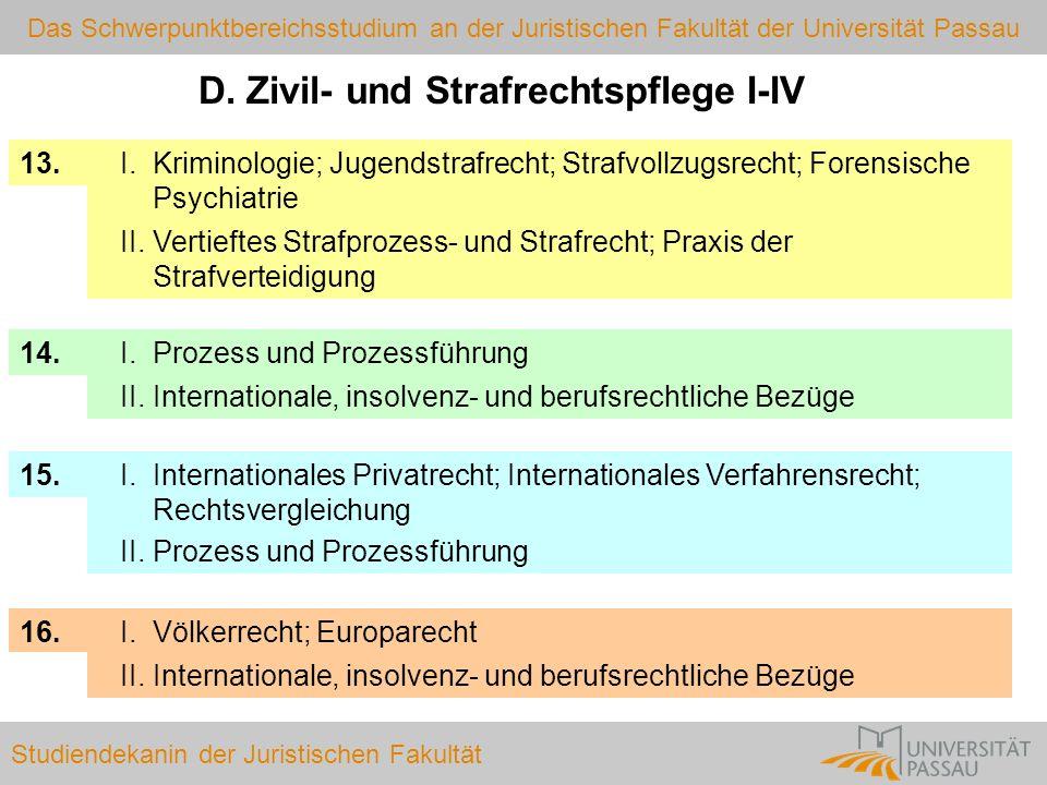 Das Schwerpunktbereichsstudium an der Juristischen Fakultät der Universität Passau Studiendekanin der Juristischen Fakultät 16. 15. 14. 13. D. Zivil-