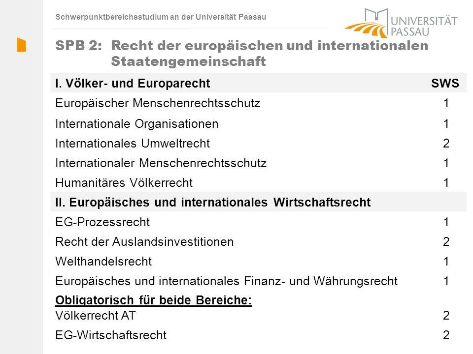 Schwerpunktbereichsstudium an der Universität Passau I. Völker- und EuroparechtSWS Europäischer Menschenrechtsschutz1 Internationale Organisationen1 I