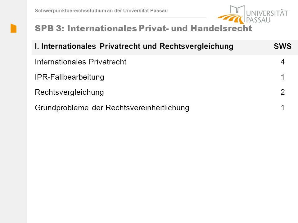Schwerpunktbereichsstudium an der Universität Passau SPB 3: Internationales Privat- und Handelsrecht I. Internationales Privatrecht und Rechtsvergleic