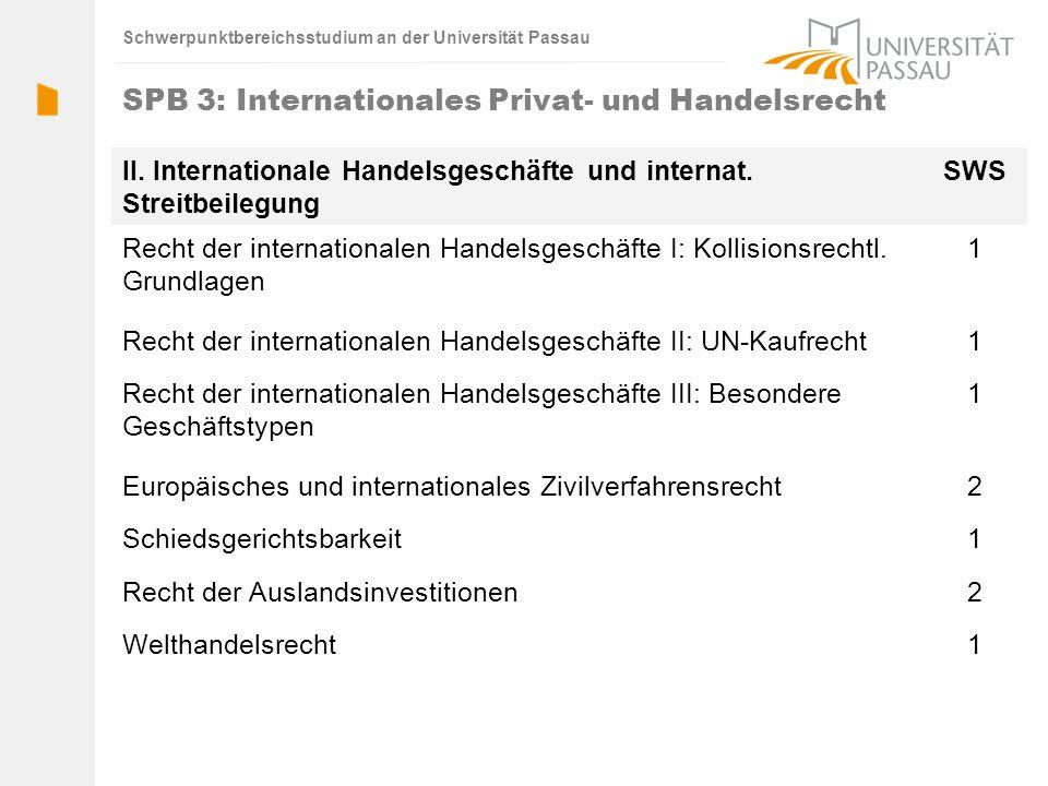 Schwerpunktbereichsstudium an der Universität Passau SPB 3: Internationales Privat- und Handelsrecht II. Internationale Handelsgeschäfte und internat.
