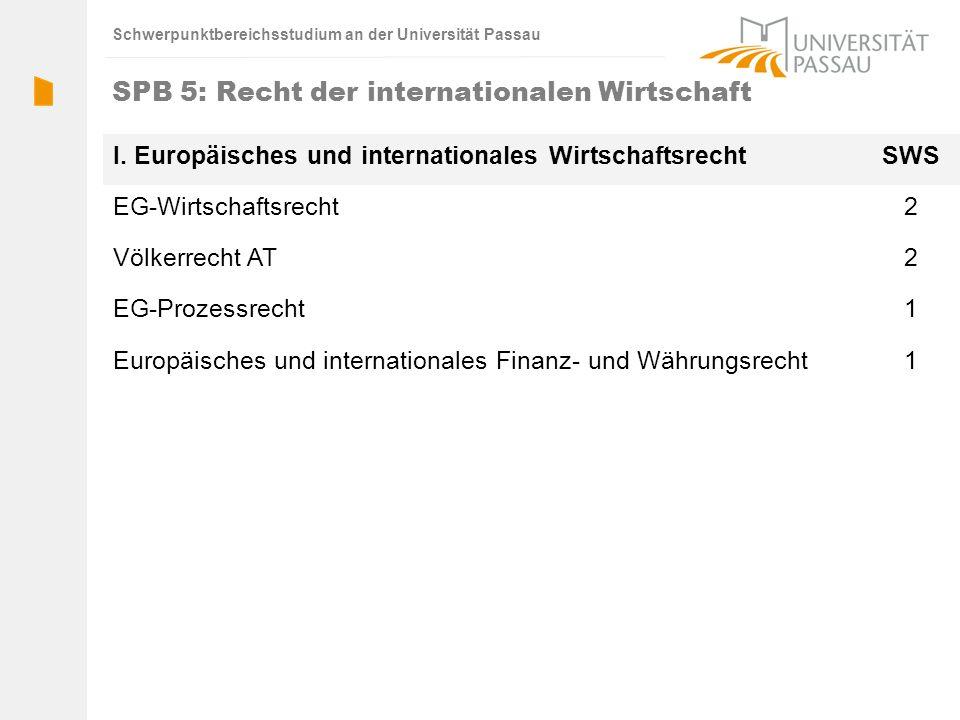 Schwerpunktbereichsstudium an der Universität Passau SPB 5: Recht der internationalen Wirtschaft I. Europäisches und internationales WirtschaftsrechtS
