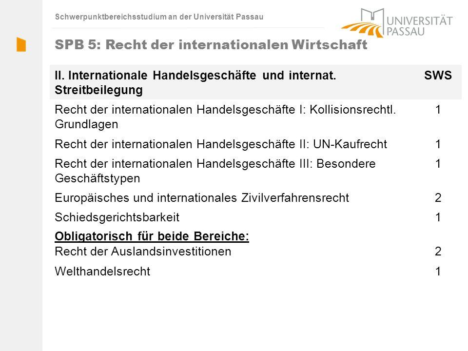 Schwerpunktbereichsstudium an der Universität Passau II. Internationale Handelsgeschäfte und internat. Streitbeilegung SWS Recht der internationalen H