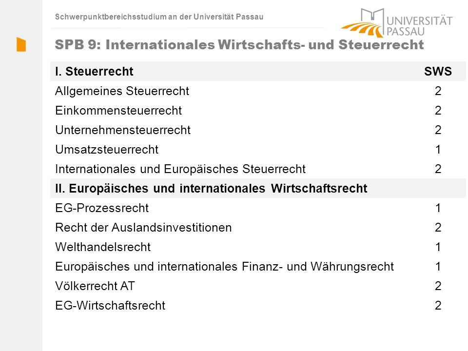 Schwerpunktbereichsstudium an der Universität Passau SPB 9: Internationales Wirtschafts- und Steuerrecht I. SteuerrechtSWS Allgemeines Steuerrecht2 Ei