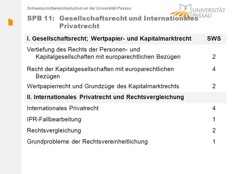 Schwerpunktbereichsstudium an der Universität Passau SPB 11: Gesellschaftsrecht und Internationales Privatrecht I. Gesellschaftsrecht; Wertpapier- und
