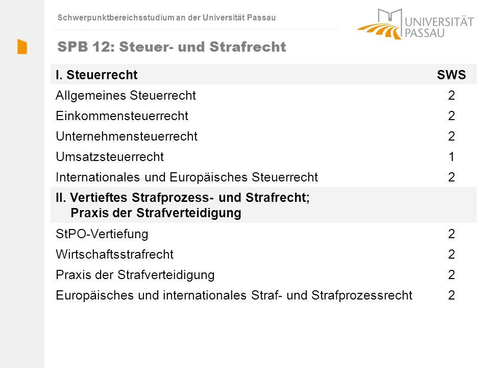 Schwerpunktbereichsstudium an der Universität Passau SPB 12: Steuer- und Strafrecht I. SteuerrechtSWS Allgemeines Steuerrecht2 Einkommensteuerrecht2 U