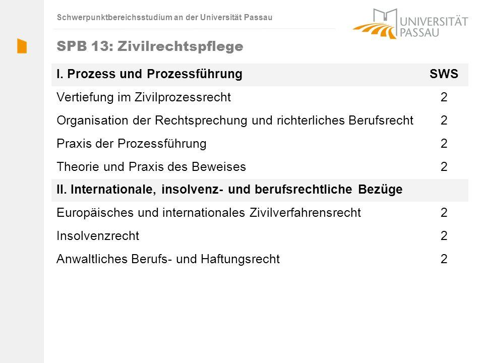 Schwerpunktbereichsstudium an der Universität Passau SPB 13: Zivilrechtspflege I. Prozess und ProzessführungSWS Vertiefung im Zivilprozessrecht2 Organ