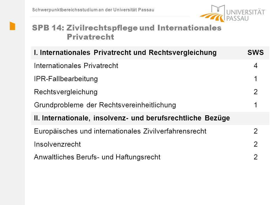 Schwerpunktbereichsstudium an der Universität Passau SPB 14: Zivilrechtspflege und Internationales Privatrecht I. Internationales Privatrecht und Rech