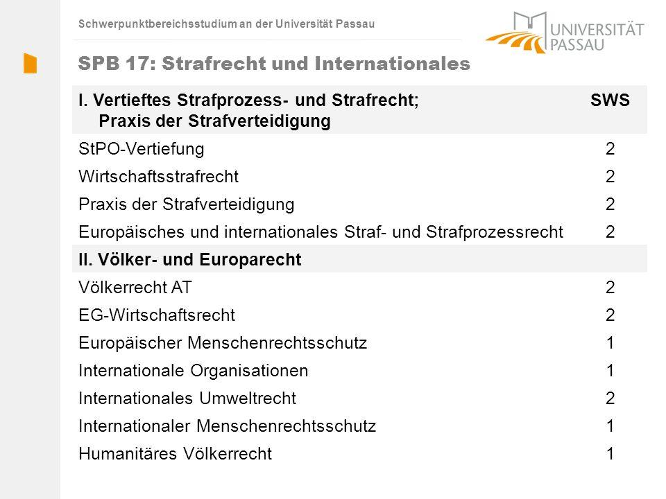 Schwerpunktbereichsstudium an der Universität Passau SPB 17: Strafrecht und Internationales I. Vertieftes Strafprozess- und Strafrecht; Praxis der Str