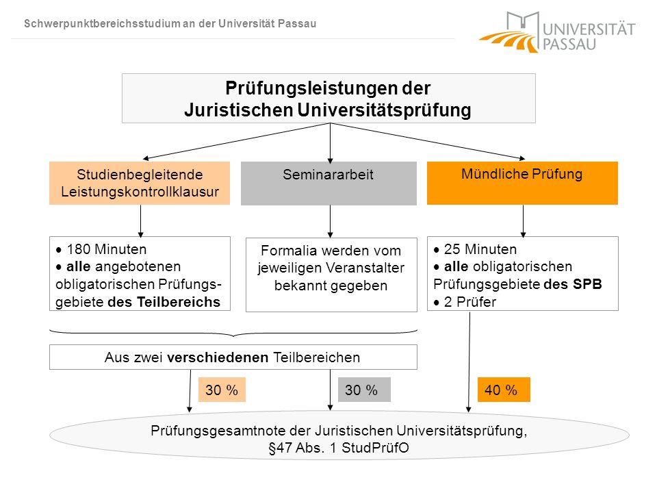 Schwerpunktbereichsstudium an der Universität Passau Prüfungsleistungen der Juristischen Universitätsprüfung Studienbegleitende Leistungskontrollklaus