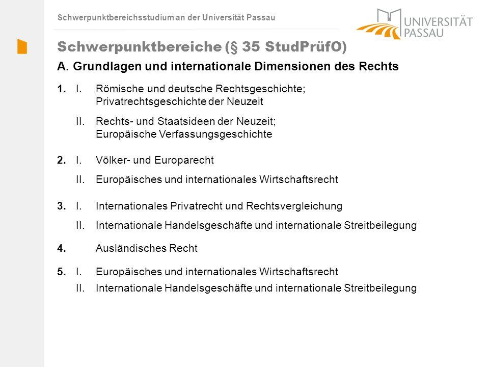 4. 3. 2. 1. Schwerpunktbereiche (§ 35 StudPrüfO) Ausländisches Recht II.Internationale Handelsgeschäfte und internationale Streitbeilegung I. Internat