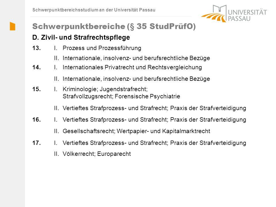 Schwerpunktbereichsstudium an der Universität Passau 16. 15. 14. 13.I. Prozess und Prozessführung II.Internationale, insolvenz- und berufsrechtliche B