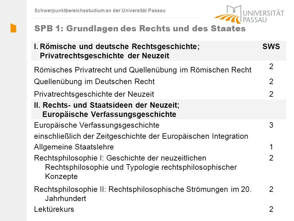 Schwerpunktbereichsstudium an der Universität Passau SPB 1: Grundlagen des Rechts und des Staates I.Römische und deutsche Rechtsgeschichte; Privatrech