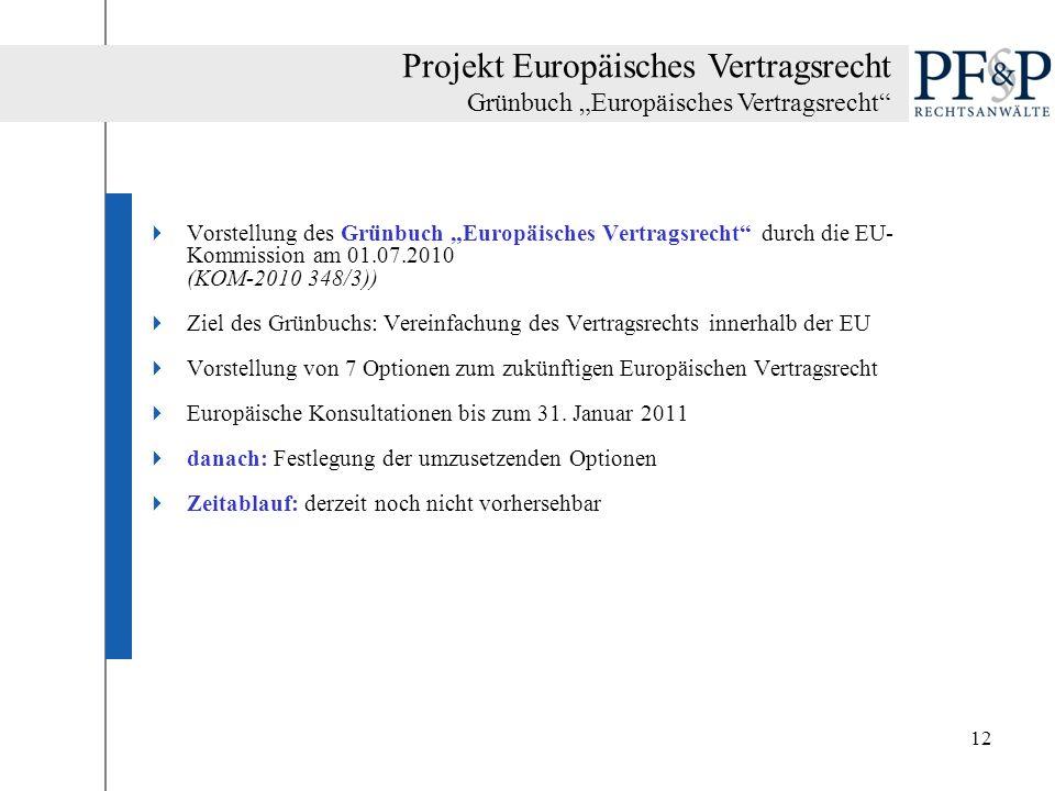 12 Vorstellung des Grünbuch Europäisches Vertragsrecht durch die EU- Kommission am 01.07.2010 (KOM-2010 348/3)) Ziel des Grünbuchs: Vereinfachung des