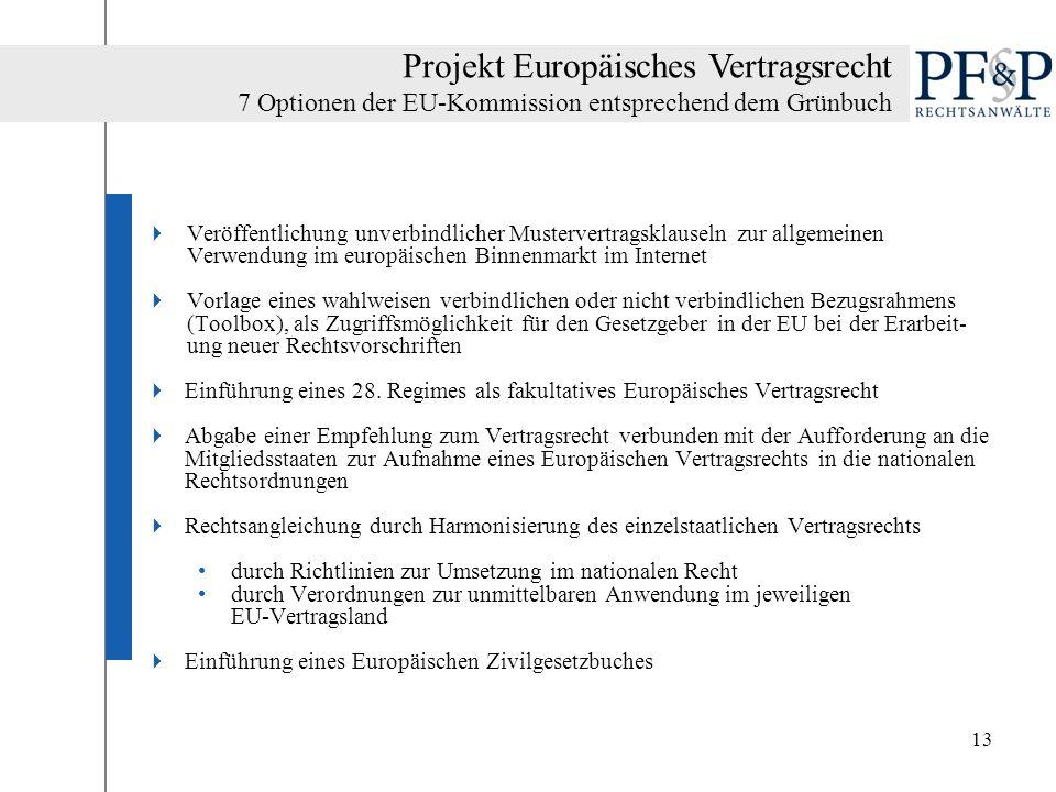 13 Veröffentlichung unverbindlicher Mustervertragsklauseln zur allgemeinen Verwendung im europäischen Binnenmarkt im Internet Vorlage eines wahlweisen