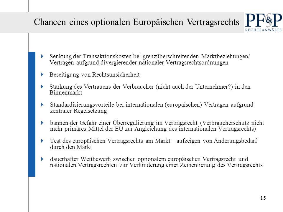 15 Senkung der Transaktionskosten bei grenzüberschreitenden Marktbeziehungen/ Verträgen aufgrund divergierender nationaler Vertragsrechtsordnungen Bes