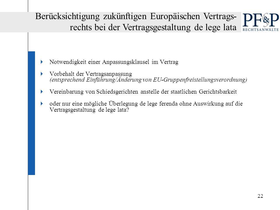 22 Notwendigkeit einer Anpassungsklausel im Vertrag Vorbehalt der Vertragsanpassung (entsprechend Einführung/Änderung von EU-Gruppenfreistellungsveror