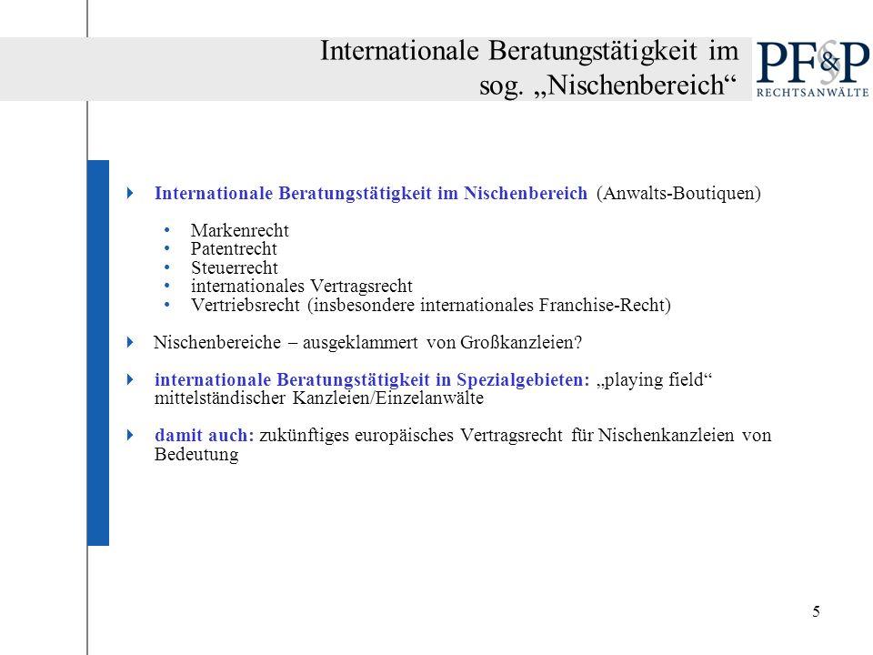 5 Internationale Beratungstätigkeit im Nischenbereich (Anwalts-Boutiquen) Markenrecht Patentrecht Steuerrecht internationales Vertragsrecht Vertriebsr