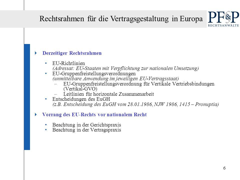 6 Derzeitiger Rechtsrahmen EU-Richtlinien (Adressat: EU-Staaten mit Verpflichtung zur nationalen Umsetzung) EU-Gruppenfreistellungsverordnungen (unmit