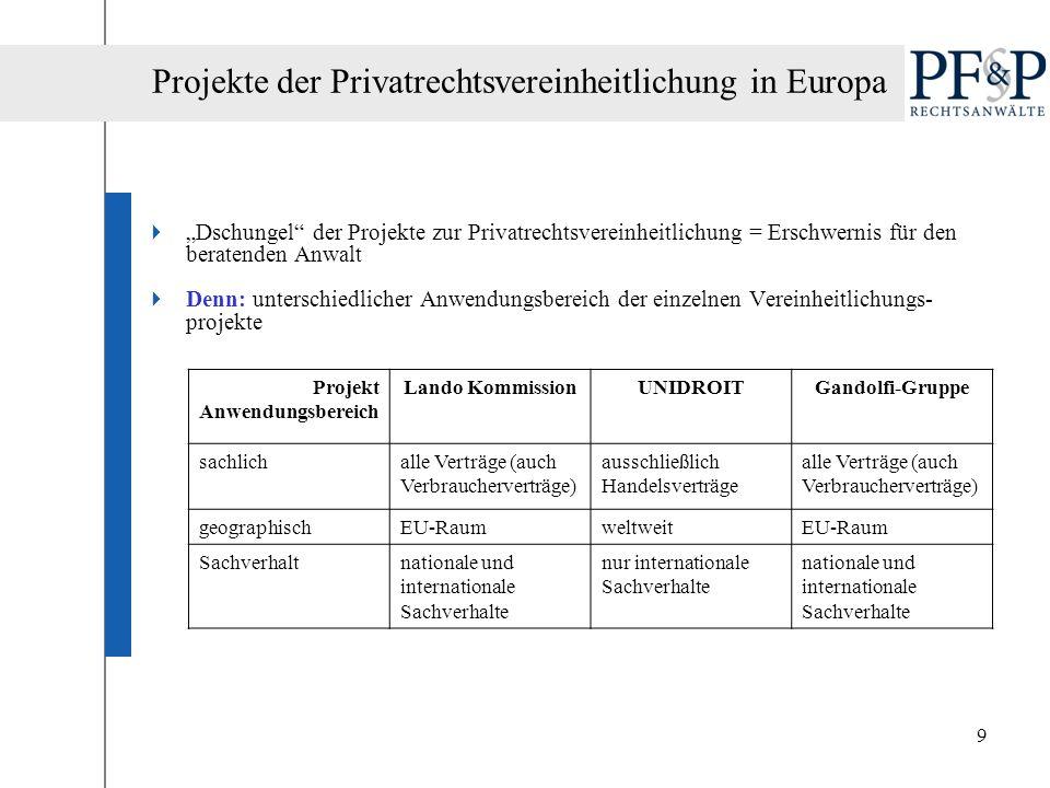 9 Dschungel der Projekte zur Privatrechtsvereinheitlichung = Erschwernis für den beratenden Anwalt Denn: unterschiedlicher Anwendungsbereich der einze