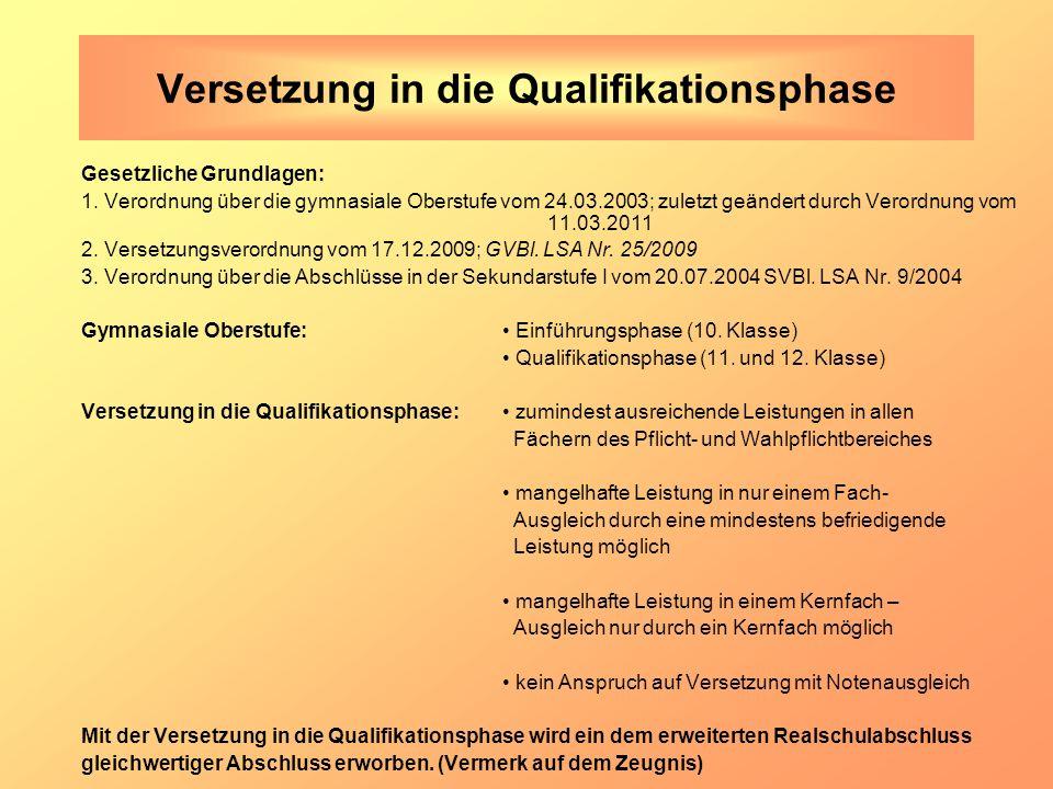 Versetzung in die Qualifikationsphase Gesetzliche Grundlagen: 1. Verordnung über die gymnasiale Oberstufe vom 24.03.2003; zuletzt geändert durch Veror