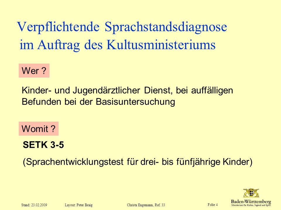 Ministerium für Kultus, Jugend und Sport Layout: Peter Braig Folie 4 Stand: 23.02.2009Christa Engemann, Ref. 33 Verpflichtende Sprachstandsdiagnose Ki