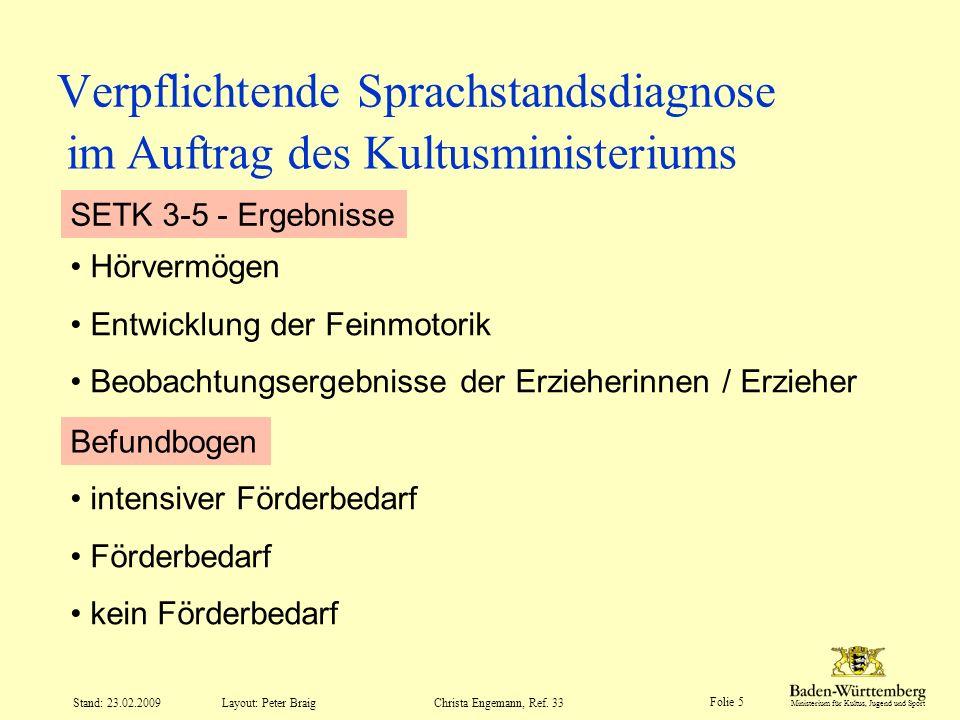 Ministerium für Kultus, Jugend und Sport Layout: Peter Braig Folie 5 Stand: 23.02.2009Christa Engemann, Ref. 33 Verpflichtende Sprachstandsdiagnose Hö