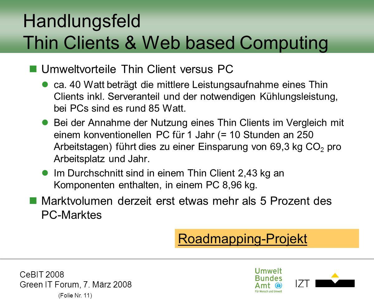 CeBIT 2008 Green IT Forum, 7. März 2008 (Folie Nr. 11) Handlungsfeld Thin Clients & Web based Computing Umweltvorteile Thin Client versus PC ca. 40 Wa