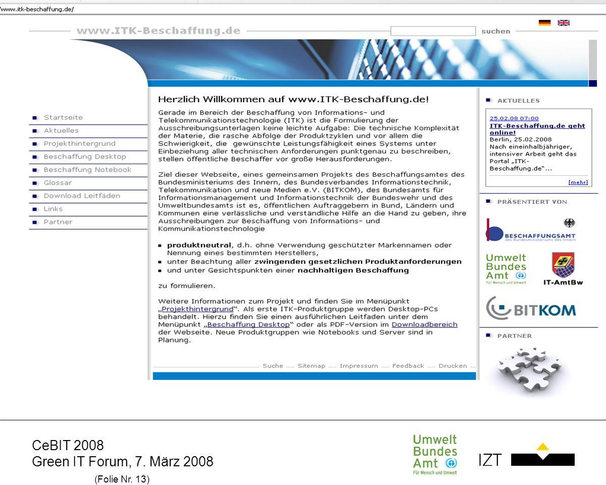 CeBIT 2008 Green IT Forum, 7. März 2008 (Folie Nr. 13)