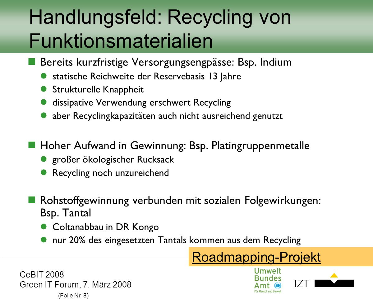 CeBIT 2008 Green IT Forum, 7. März 2008 (Folie Nr. 8) Handlungsfeld: Recycling von Funktionsmaterialien Bereits kurzfristige Versorgungsengpässe: Bsp.