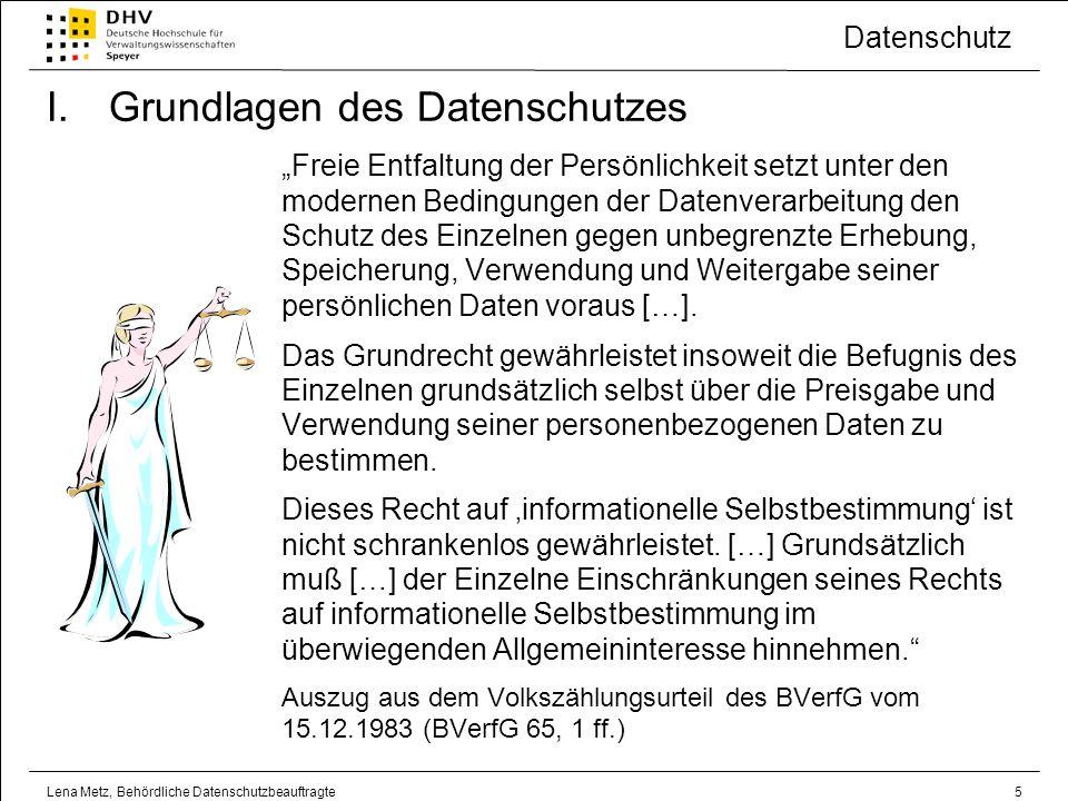 Datenschutz Lena Metz, Behördliche Datenschutzbeauftragte6 Volks- zählungs- urteil EU-Daten- schutz- richtline Allgemeine s Persönlich- keitsrecht Art.