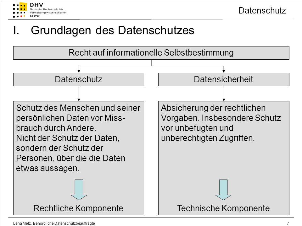 Datenschutz Lena Metz, Behördliche Datenschutzbeauftragte18 III.Stellung, Aufgaben und Befugnisse der behördlichen Datenschutzbeauftragten