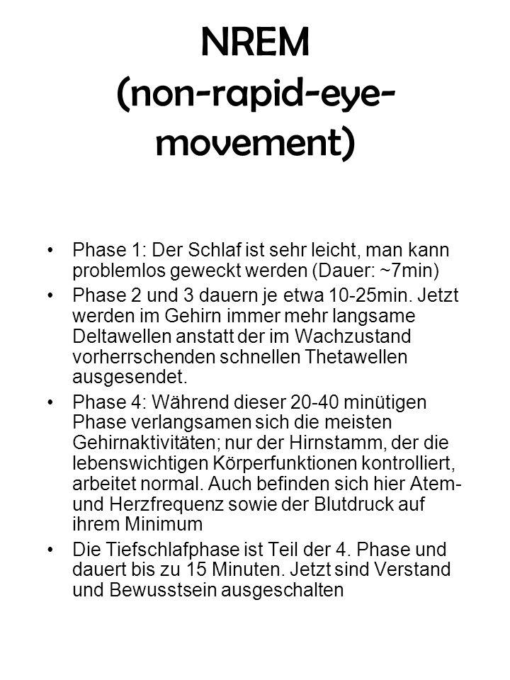 NREM (non-rapid-eye- movement) Phase 1: Der Schlaf ist sehr leicht, man kann problemlos geweckt werden (Dauer: ~7min) Phase 2 und 3 dauern je etwa 10-