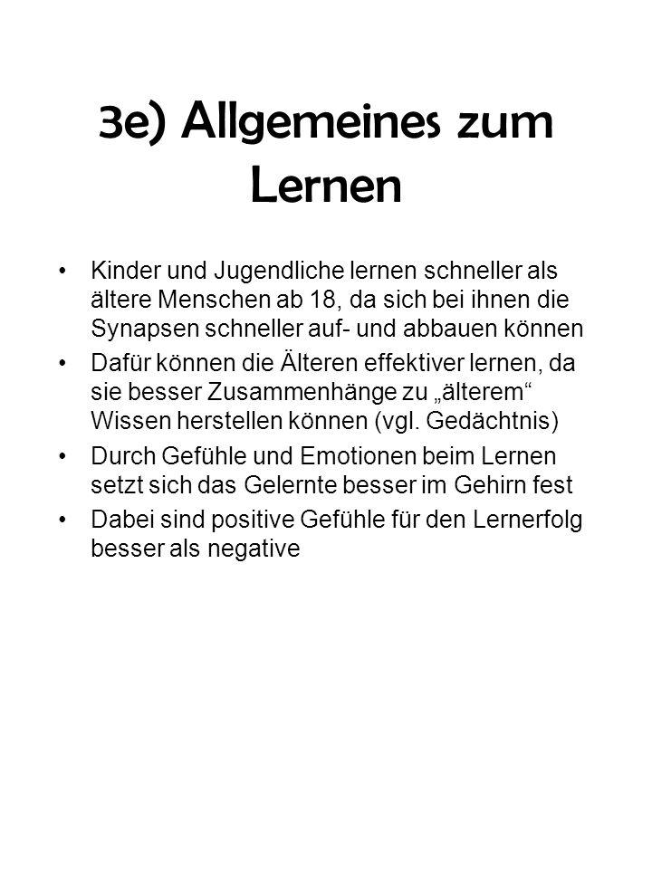 3e) Allgemeines zum Lernen Kinder und Jugendliche lernen schneller als ältere Menschen ab 18, da sich bei ihnen die Synapsen schneller auf- und abbaue