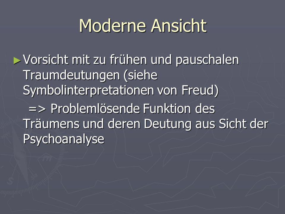 Moderne Ansicht Vorsicht mit zu frühen und pauschalen Traumdeutungen (siehe Symbolinterpretationen von Freud) Vorsicht mit zu frühen und pauschalen Tr