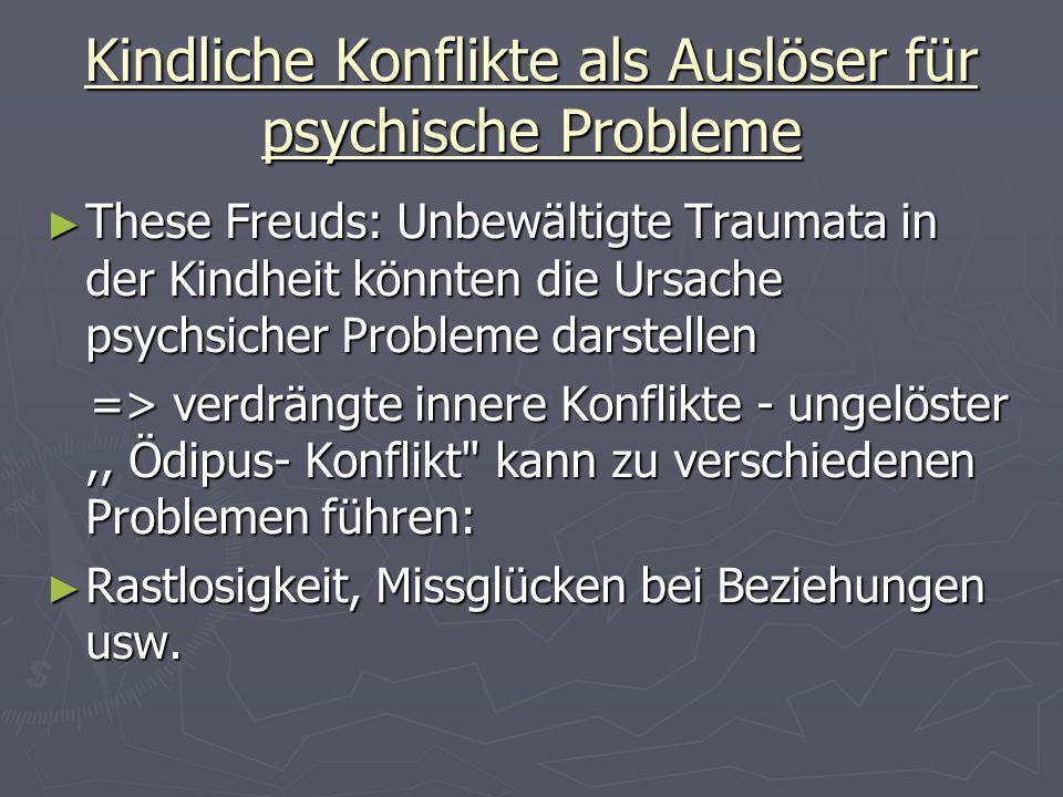 Kindliche Konflikte als Auslöser für psychische Probleme These Freuds: Unbewältigte Traumata in der Kindheit könnten die Ursache psychsicher Probleme