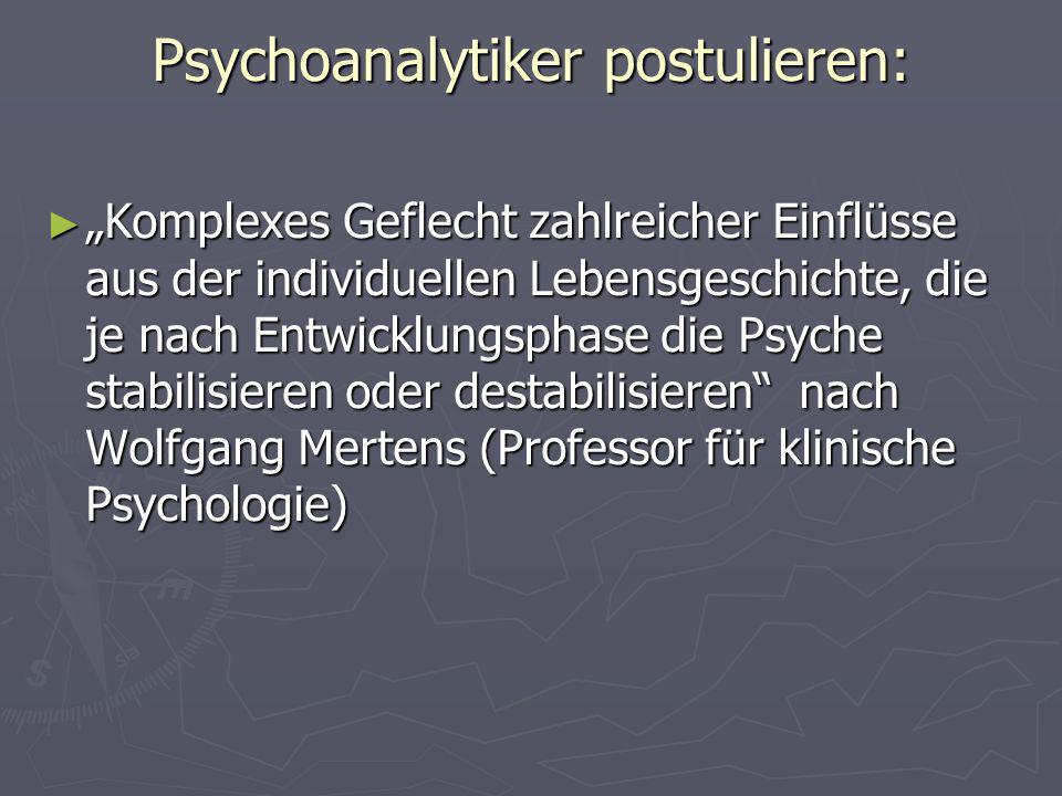 Psychoanalytiker postulieren: Komplexes Geflecht zahlreicher Einflüsse aus der individuellen Lebensgeschichte, die je nach Entwicklungsphase die Psych