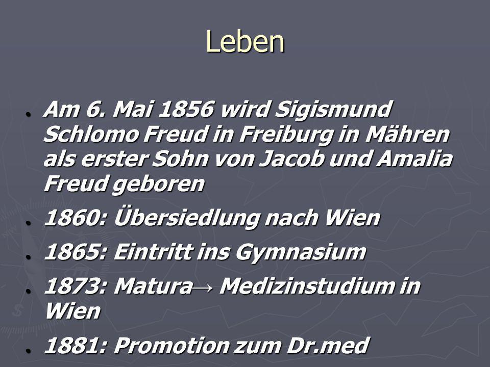 Leben Am 6. Mai 1856 wird Sigismund Schlomo Freud in Freiburg in Mähren als erster Sohn von Jacob und Amalia Freud geboren Am 6. Mai 1856 wird Sigismu